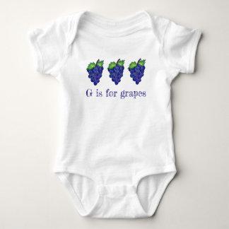 G is for Grapes Purple Bunch Fruit Alphabet ABCs Baby Bodysuit