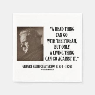 G.K. Chesterton Dead Thing Stream Living Thing Paper Napkin