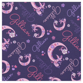 G monogram and personalized name Gillian fabric