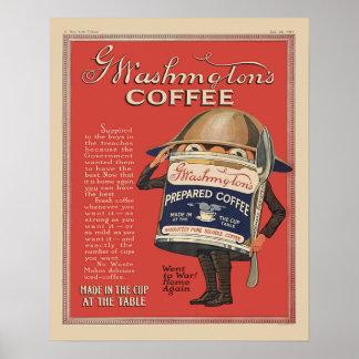 G  Washington Instant Coffee WW1 Vintage Patriotic Poster