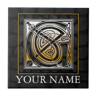 "G ""Your Name"" Celtic Black Stone Monogram Tile"