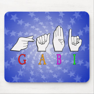 GABI FINGGERSPELLED NAME ASL SIGN MOUSE PAD
