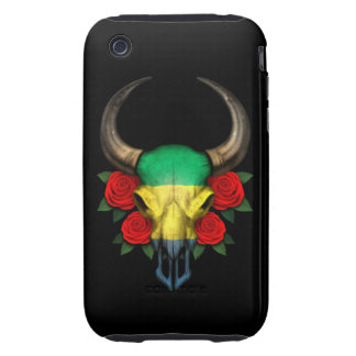Gabon Flag Bull Skull with Red Roses iPhone 3 Tough Cases