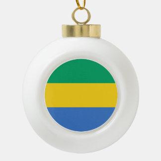 Gabon Flag Ceramic Ball Christmas Ornament