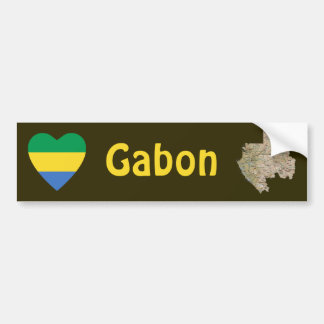 Gabon Flag Heart + Map Bumper Sticker