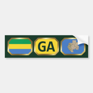 Gabon Flag Map Code Bumper Sticker