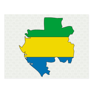 Gabon Flag Map full size Postcard