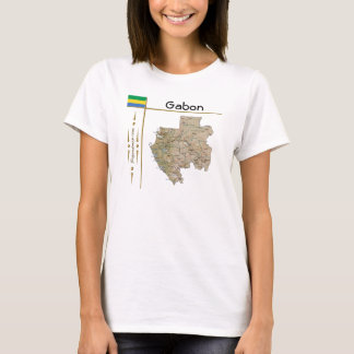 Gabon Map + Flag + Title T-Shirt