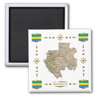 Gabon Map + Flags Magnet