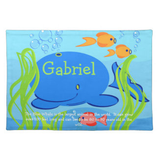 Gabriel the Blue Whale Cotton Placemat
