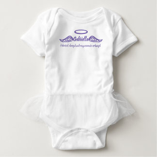 Gabriella girls name & meaning angel wings purple baby bodysuit