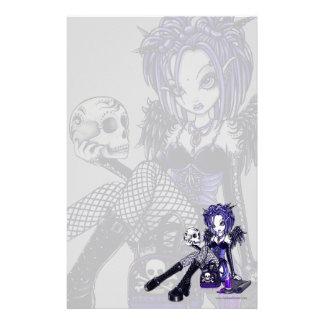 """""""Gabriella"""" Gothic Blue Skull Angel Art Stationery"""