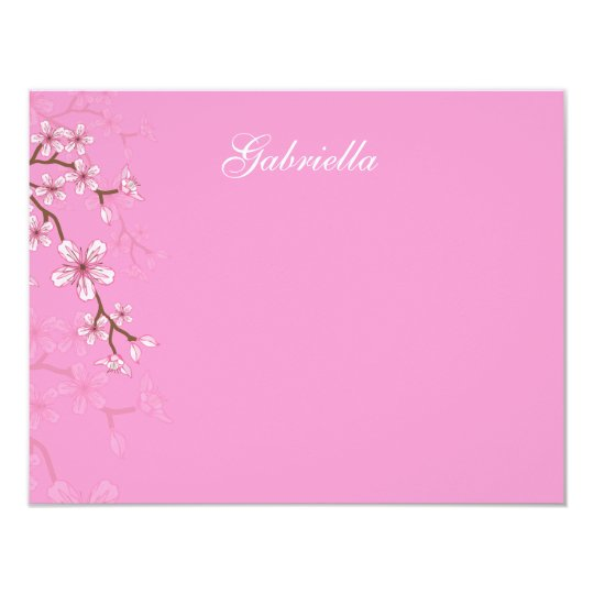 Gabriella Pink Blossoms Bat Mitzvah Thank You Card