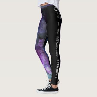 """Gabrielle"" Purple Abstract with strip Leggings"