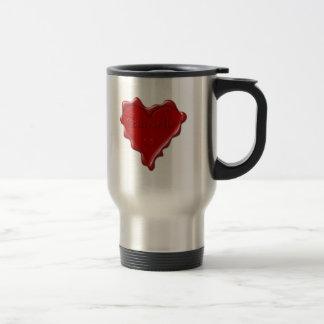 Gabrielle. Red heart wax seal with name Gabrielle. Travel Mug