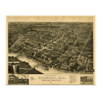 Gadsden Alabama in 1887 Postcard
