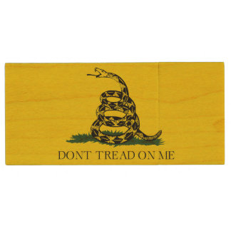 Gadsden Flag Don't Tread on Me Wooden USB Drive Wood USB 2.0 Flash Drive