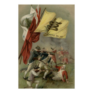Gadsden Flag Revolutionary War Bunker Hill Poster