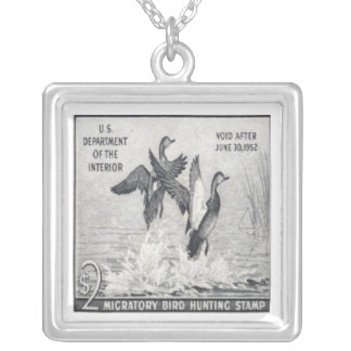 Gadwall Ducks Postage Stamp Necklace