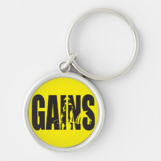 """GAINS - """"Body building"""" Motivational Silver-Colored Round Key Ring"""