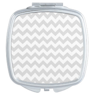 Gainsboro Grey Gray and White zigzag Chevron Compact Mirror