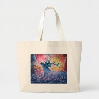 Galactic Elk Painting Canvas Bag