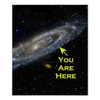 Galactic Perspective. You are here in the universe Poster
