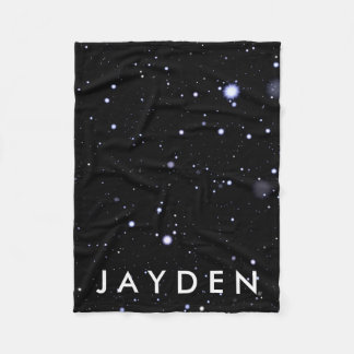 Galactic Space & Stars Pattern w/ Name Fleece Blanket
