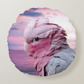 Galah Cockatoo Round Throw Pillow