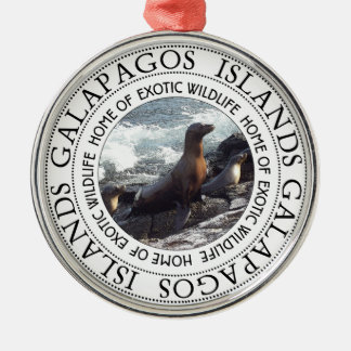 GALAPAGOS SEALS ROUND METAL ORNAMENT