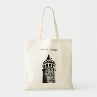 Galata Tower Figure Black and text Budget Tote Bag