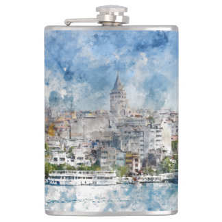Galata Tower in Istanbul Turkey Hip Flask