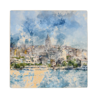 Galata Tower in Istanbul Turkey Maple Wood Coaster