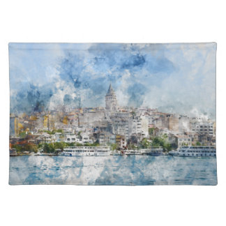 Galata Tower in Istanbul Turkey Placemat