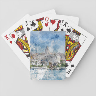 Galata Tower in Istanbul Turkey Playing Cards