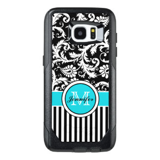 Galaxy 7 Case | Monogram, Aqua, Black, White