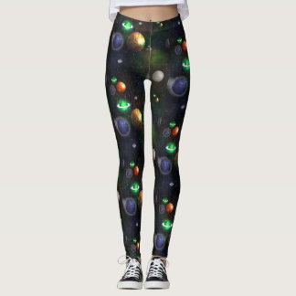 Galaxy and planets on black background leggings