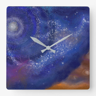 galaxy bird square wall clock
