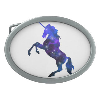 Galaxy  blue beautiful unicorn sparkly image belt buckle