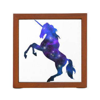 Galaxy  blue beautiful unicorn sparkly image desk organiser
