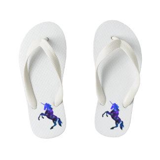 Galaxy  blue beautiful unicorn sparkly image kid's thongs