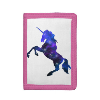 Galaxy  blue beautiful unicorn sparkly image tri-fold wallets