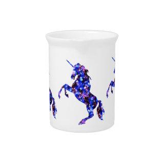 Galaxy blue beautiful unicorn starry sky image pitcher