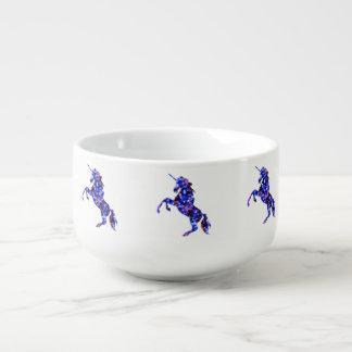 Galaxy blue beautiful unicorn starry sky image soup mug