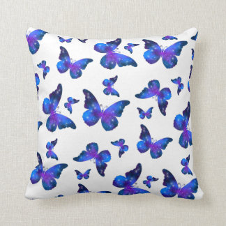 Galaxy butterfly cool blue white pattern cushion