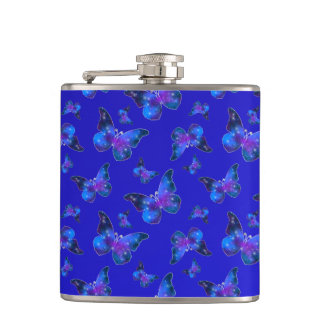 Galaxy butterfly cool blue white pattern hip flask
