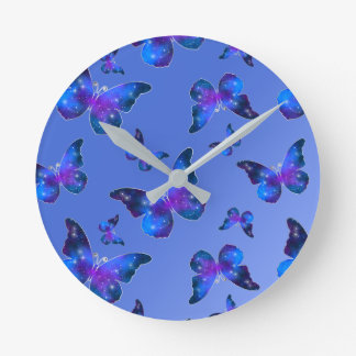 Galaxy butterfly cool blue white pattern round clock