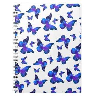 Galaxy butterfly cool blue white pattern spiral notebook