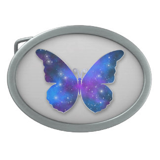 Galaxy butterfly cool dark blue illustration belt buckles