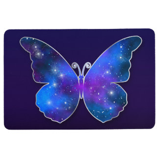 Galaxy butterfly cool dark blue illustration floor mat